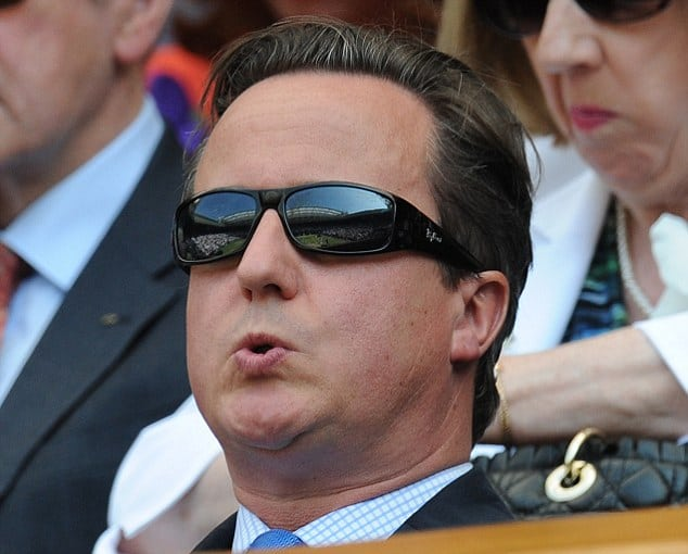 DAVID CAMERON ON CENTRE COURT......… PICTURE MURRAY SANDERS DAILY MAIL.